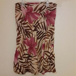 Nygard Collection 8 Silk Floral Skirt Brown Spring